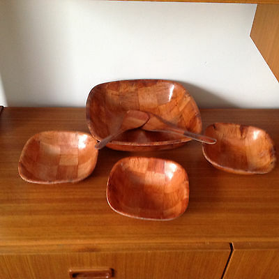 Vintage Woven Wood Salad Set