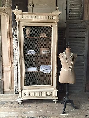 Lovely, original vintage French linen press / armoire with chicken wire door