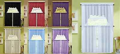 3Pc Voile Sheer Kitchen Window Curtain Treatment 2 Tiers And 1 Swag Valance K66