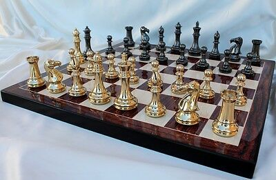 The Grand Master Staunton Luxury Chess Set in Solid Brass with 102mm (4.00   ...
