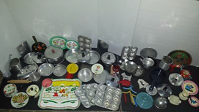 HUGE LOT! VTG Tin CHILDREN'S Doll Dishes COOKWARE PANS Cutlery 69 Pcs