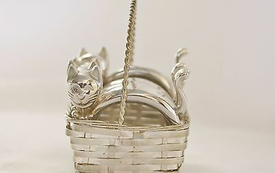 Set Of 4 Cute Silver Metal Cats Napkin Rings In Basket