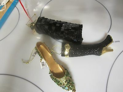 Set of 3 Ornaments Glass Flapper Dress & Resin Shoe & Boot  New