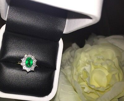 Emerald Ideal Cut Diamond Cluster 18k 18ct Gold Princess Diana Engagement Ring