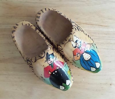 Decorative Vintage Dutch Carved Wood Shoes Wooden Clog Hand Painted Holland Sm