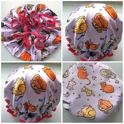DESIGNER SHOWER CAP MADE IN oZ mAUVE WITH MULTI COLOUR CATS, CHILD OR ADULT