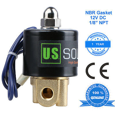 "U. S. Solid 1/8"" 12V DC Brass Electric Solenoid Valve  Normally Closed NBR"
