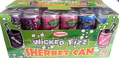 36 x Sweetmans Wicked Fizz Sherbet Cans - Party Favours Lollies