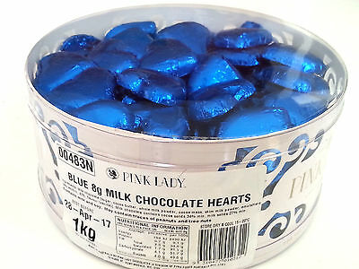 Pink Lady Blue Milk Chocolate Hearts 1kg - Wedding Favour Lollies