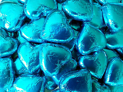 100 Pieces Pink Lady Aqua Blue Milk Chocolate Hearts - Wedding Favour Lollies
