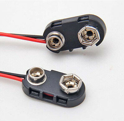 10X Snap On 9V  Battery Clip Connector Cord With Cable Wire NEW Arrival