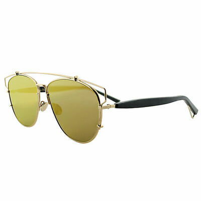 New Dior Technologic RHL 83 Gold Black Metal Sunglasses Gold Mirror Lens