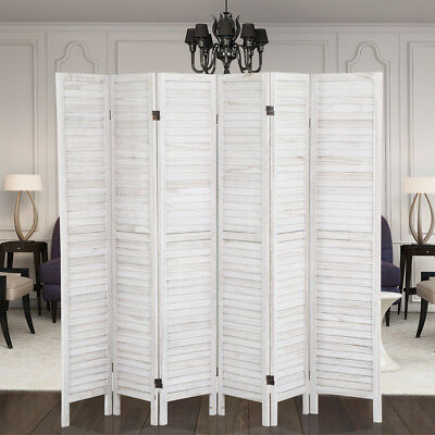 Stylish Natural/Cream Wooden Slat 6 Panel Room Divider Privacy Screen  Folding
