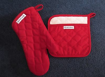 New WILLIAMS SONOMA Red Oven Mitt and Potholder Set NWT All Cotton