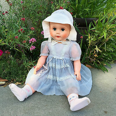 Vintage Eegee Drink & Wet Doll Rare Playpal Companion Size with Bonnet & Dress