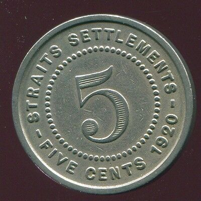 1920 Straits Settlements  5 Cents George V   Www1086.3