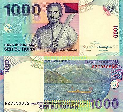 INDONESIA 1000 One Thousand Rupiah Boating UNC Uncirculated Banknote