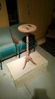 Vintage Antique Wood Wooden Barley Twist Plant Stand Painted Stained Distressed