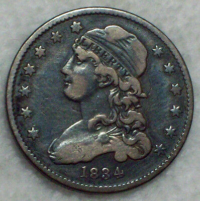 1834 Bust SILVER Quarter VF Detailing Authentic B-1 Variety ROTATED REVERSE
