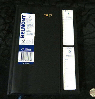 Diary 2017 A5 2 Days Page Belmont Windowed w Tear-off Appt. Tabs - FREE EXPRESS