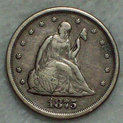 1875 S 20 Twenty Cent Piece SILVER BF-16 S over S $ Var RARE XF Detailing S/S