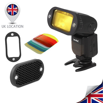 Selens Magnetic Flash Modifier Kit Honeycomb Grid Grip Gel Color Filter UK