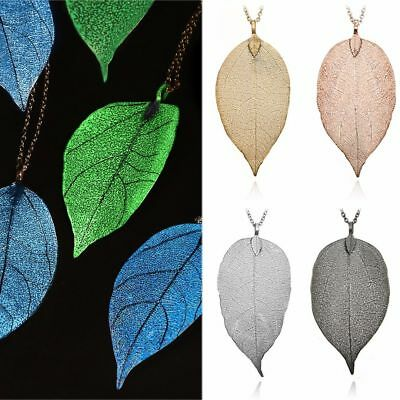 Women Fashion Jewelry Leaves Leaf Pendant Sweater Long Chain Statement Necklace