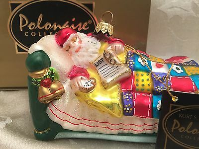 Polonaise Christmas Ornament Santa Claus Sleeping In Bed Tuckered Out With Box
