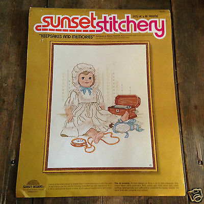 Keepsakes and Memories Crewel Embroidery Kit Sunset Stichery Overton Doll Lace