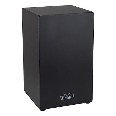 REMO Crown Percussion Birch Wood Cajon Drum with Quick Plate Snare System, Black
