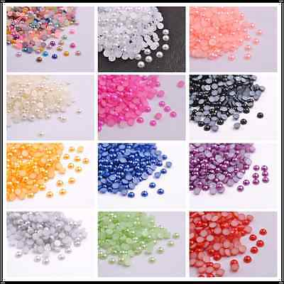 Wholesale Half Pearl Round Bead Flat Back 2MM - 8MM Scrapbook for Craft FlatBack