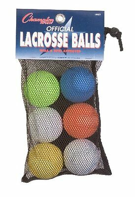 Pack Of 6 Champion Sports Official Lacrosse Balls (Assorted New
