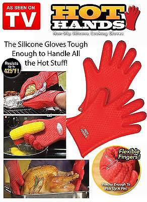 Hot Hands Cooking Gloves Heat Safe As Seen On TV BBQ Oven Mitts 100% Silicone
