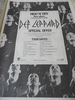 """Def Leppard """"high N Dry"""" Tour Advert From 1981 Full Page A3"""