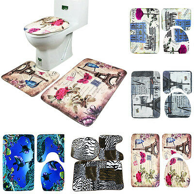 3Pcs/set Non-slip Soft Bath Pedestal Mat Toilet Lid Carpet Bathroom Washable Rug