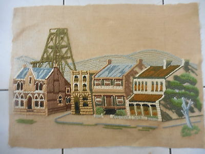 Craft Embroidery Vintage On Linen Hand Worked Gold Rush Town