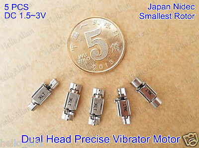5PCS Nidec Mini Dual Head Precise Vibration Motor DC1.5-3V 2.3MM Smallest Rotor