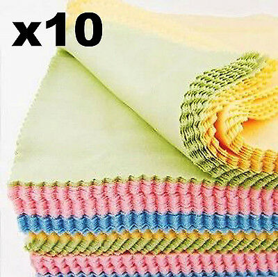 10pcs Microfiber Cleaning Cloth Camera Lens Glasses Sunglasses Spectacle Eyewear