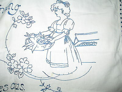 Antique banner embroidered on white cotton,hand embroidered flowers-lady & motto