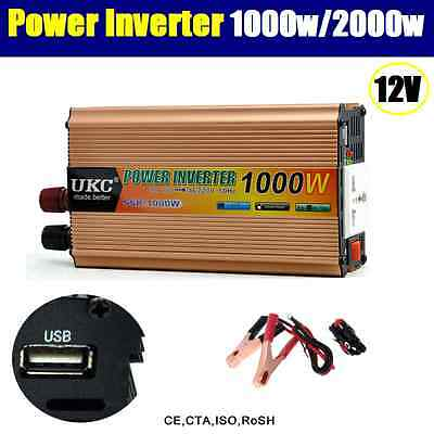 1000W / 2000W (Peak) Watt 12V DC-AC Power Inverter Car Caravan Boat USB Charge