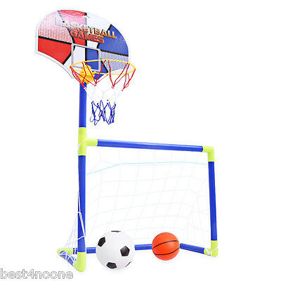 Portable Kids 2 in 1 Football Basketball Set Indoor Outdoor Sport Game Gift Toy