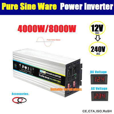 4000W / 8000W (Peak) Watt 12V to 240V Power Inverter Car Caravan Boat USB Charge