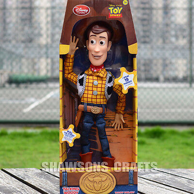 "Disney Store Toy Story Plush Stuffed Toys 16"" Talking Woody Soft Doll Figure"
