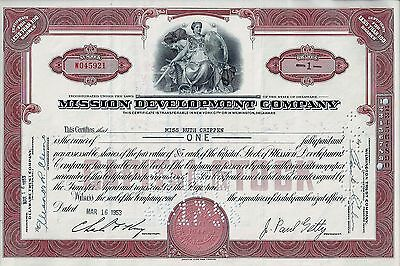 Mission Development Company, 1953 (1 Share) signed John Paul Getty
