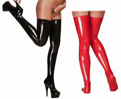Saxenfelt Latex Rubber Stockings Black & Red Long Fetish Premium Latex Clothing