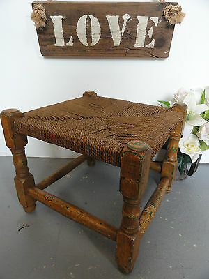 Vintage Rattan Woven Oak Shabby Chic Wooden Stool