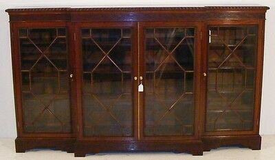 Good Quality Antique Mahogany Large Breakfront Library Bookcase