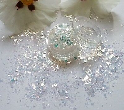 Nail Art Chunky *IciCle* White Colour Change Hexagon Glitter Spangle Mix Pot Tip