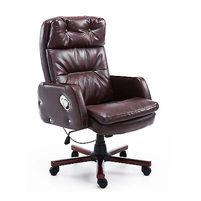 HOMCOM Computer Office Chair Brown PU Leather Adjustable Armrest Remote Control