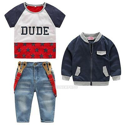 3Pcs Baby Kids Children Boy T-shirt+ Coat+ Denim Suspender Pants Outfits Clothes